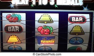 The wheels turning on a slot machine