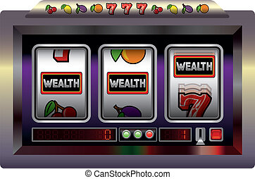 Slot Machine Wealth - Illustration of a slot machine with...