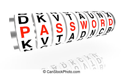 Slot machine wheels with the word password in red