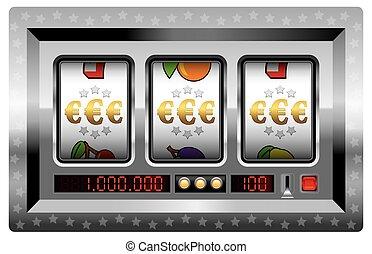 Slot Machine Win Euro Symbol Silver