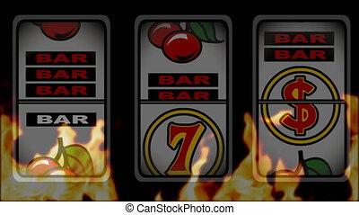 Slot machine winning animation against a burning background