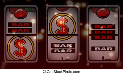 Slot machine winning animation surounded by bokeh effect