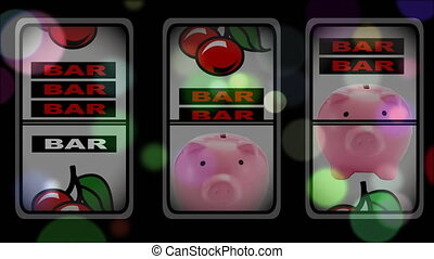 Slot machine winning animation surounded by bubble effect
