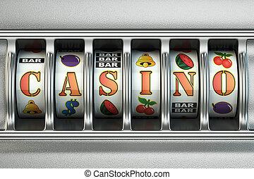 Slot machine with casino text. Jackpot concept.