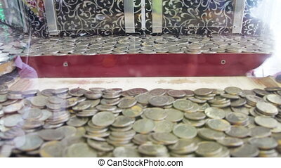 Slot Machine with Coins on the Street. Full HD 1920 x 1080, ...