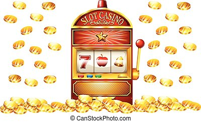 Slot machine with lots of gold coins