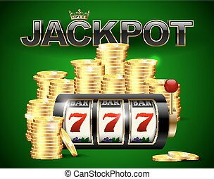 Slot machine with lucky seven and golden coins and red black jackpot text with crown on green casino background.