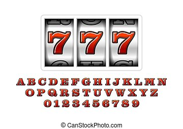 Slot machine with lucky seventh jackpot, 777