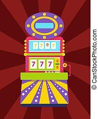 Slot Machine with Triple Sevens Casino Gambling