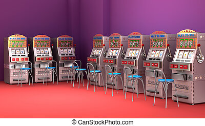 Slot machines in the casino Interior