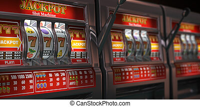 Slot machines row in a casino. Onliine casino and gambling concept background.