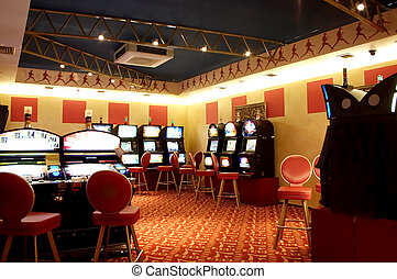 Slot machines in a hall of a casino