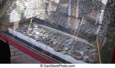 Slot Machines with Coins on the Streets of the City - Slot...