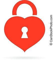 slot, pictogram, gevormd, hart