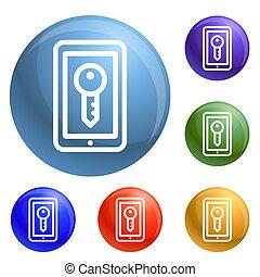 slot, smartphone, set, iconen