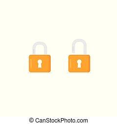 slot, symbool., illustratie, meldingsbord, hangslot, ontsluiten, gesloten, icon., open, veiligheid