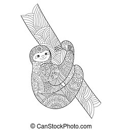 Sloth coloring book for adults vector