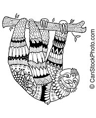 Sloth coloring book vector illustration. Black and white...