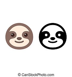 Sloth face icon - Cute cartoon sloth icon in color and black...