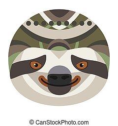 Sloth Head Logo. Vector decorative Emblem.