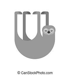 Sloth isolated. lazybones animal Cartoon. Vector illustration