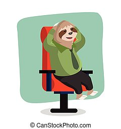 sloth office vlazy vector illustration design