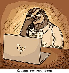 Sloth office worker cartoon vector illustration