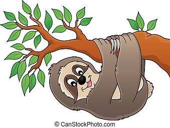 Sloth on branch theme image 1 - eps10 vector illustration.