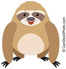 Sloth on white background