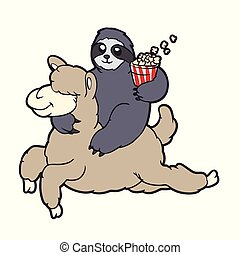 Sloth Riding a lama cartoon