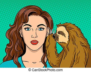 Sloth talking with girl pop art vector - Sloth talking with...