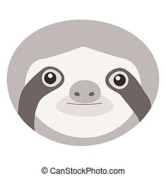 Sloth face icon. Cute cartoon sloth icon in color and ...