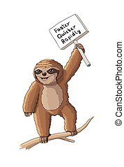 Sloth with a sign cartoon vector illustration