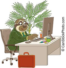 Funny tropical character in a business suit sitting at its desk and typing a text on a keyboard in a room with a palm tree, vector cartoon illustration isolated on a white background