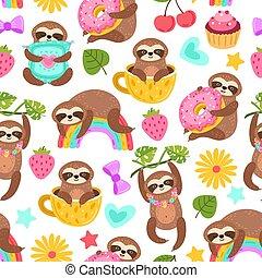 sloths, zoo, exótico, textura, caracteres, lindo, bailando, comer, sueño, dream., pattern., exacto, caricatura, impresión, caracteres, o, perezoso, seamless, animal, vector