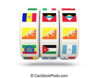 Slots with flag of bhutan