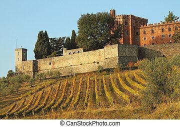 slott, av, brolio, och, vingårdar, in, chianti, toskana,...