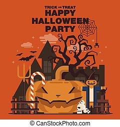 slott, eller, baner, halloween, bakgrund, parti, fan, night., fågelskrämma, kranium, gaffel, pumpa, godis, träd, lägenhet, affisch