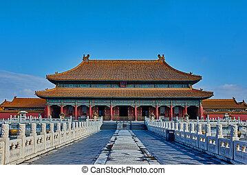slott, lugn, kejserlig, förbjuda, kunninggong, jordiskt