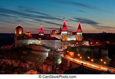 slott, natt, gammal, lätt