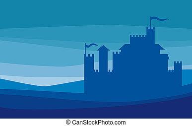 slott, silhuett