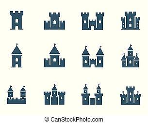 slott, vektor, sätta, medeltida, ikon