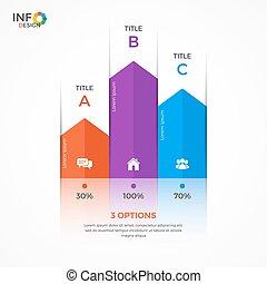 sloupec, graf, 3, infographic, šablona, doplňkové příslušenství
