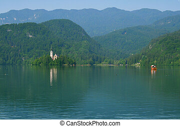 slovénie, lac, saigné