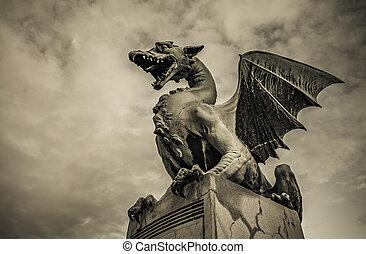 slovénie, sculpture, dragon, ljubljana, pont