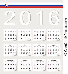 Slovak 2016 vector calendar with shadow angles. Week starts from Sunday.