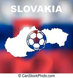Abstract slovak map on flag background. Vector illustration of abstract slovak map and flag. Map of Slovakia