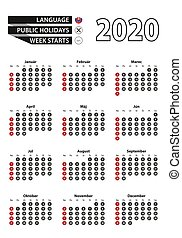 Slovak calendar 2020 with numbers in circles, week starts on Sunday. Vector calendar 2020.