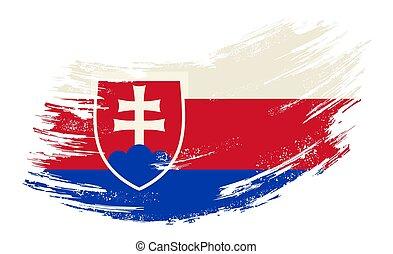 Slovak flag brush stroke grunge background. Vector illustration.