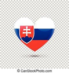 Slovak Flag Heart Icon on Transparent Background. Vector illustration